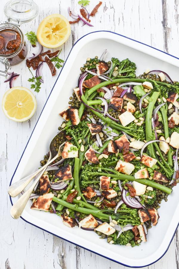 Salade de Lentilles, Brocoli et Halloumi Grillé [végétarien] © 2019 - Annabelle Randles Le Flexitarien The Flexitarian