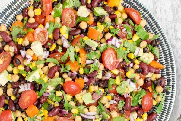 Salade aux 3 haricots et à l'avocat [vegan] [sans gluten] par Le Flexitarien