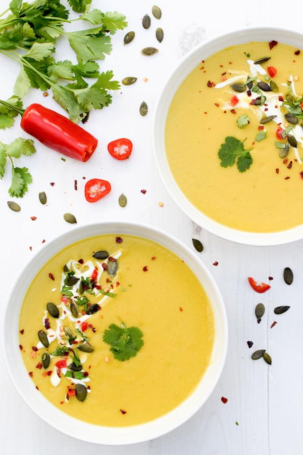 Potage de courge butternut, lentilles corail et lait de coco © Le Flexitarien - Annabelle Randles