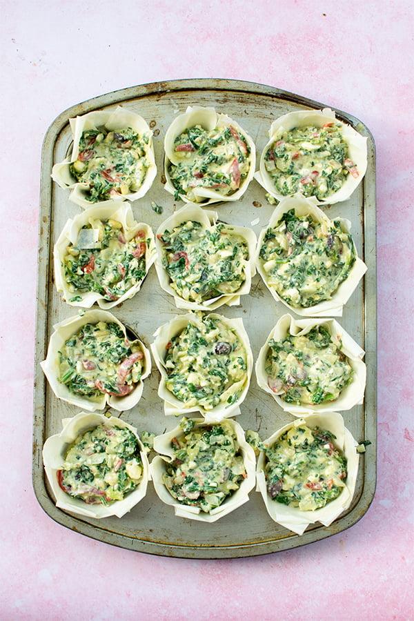 Mini Greek Quiches [vegetarian] PREP 2 2019 © Annabelle Randles The Flexitarian